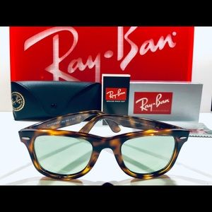 Ray-Ban Sunglasses Red Havana,Green Gradient Lens